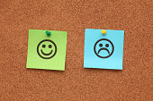 Paper with happy and sad faces on corkboard