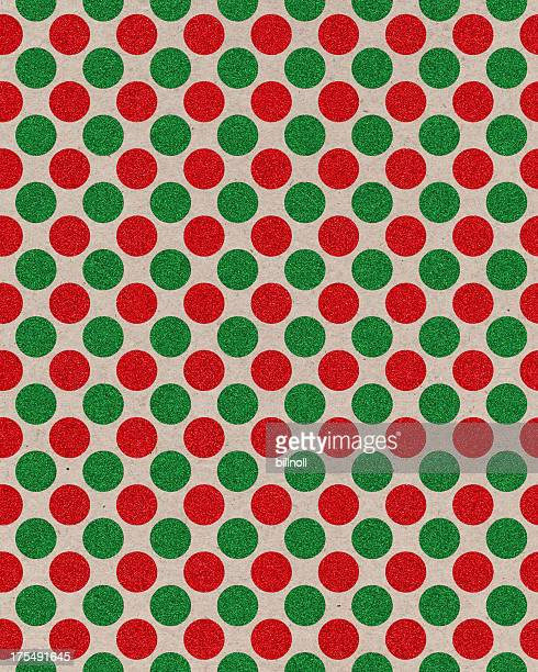 paper with red and green glitter dots