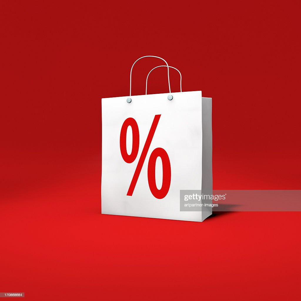 Paper-Bag with percentage sign on red