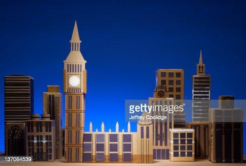 Papercraft Cityscape London : Foto de stock