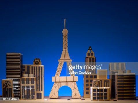 Papercraft Cityscape Paris : Stock Photo