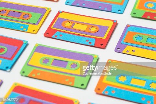 Paper-cut Cassette Tapes... : Stock Photo