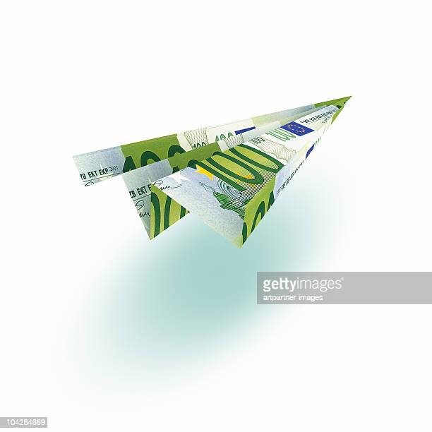 100 EURO Paperflier or Paper Plane on White