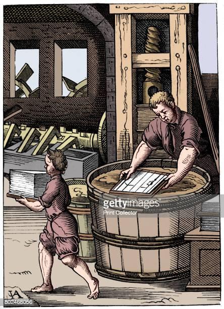 Papermaker 16th century A 19th century version based on an original 16th century wood engraving From Le Moyen Age et la Renaissance by Paul Lacroix...