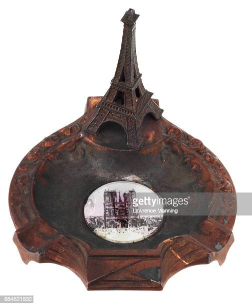 Paperweight of Eiffel Tower and Notre Dame Ashtray