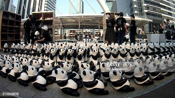 1600 papiermache pandas created by French artist Paulo Grangeon displayed at Silom Skybridge Intersection the 1600 paper mache pandas is a message of...