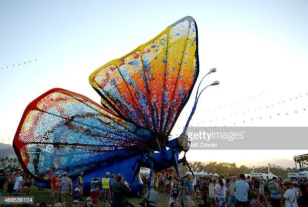 Papilio Merraculous art installation by Poetic Kinetics is seen during day 3 of the 2015 Coachella Valley Music Arts Festival at the Empire Polo Club...