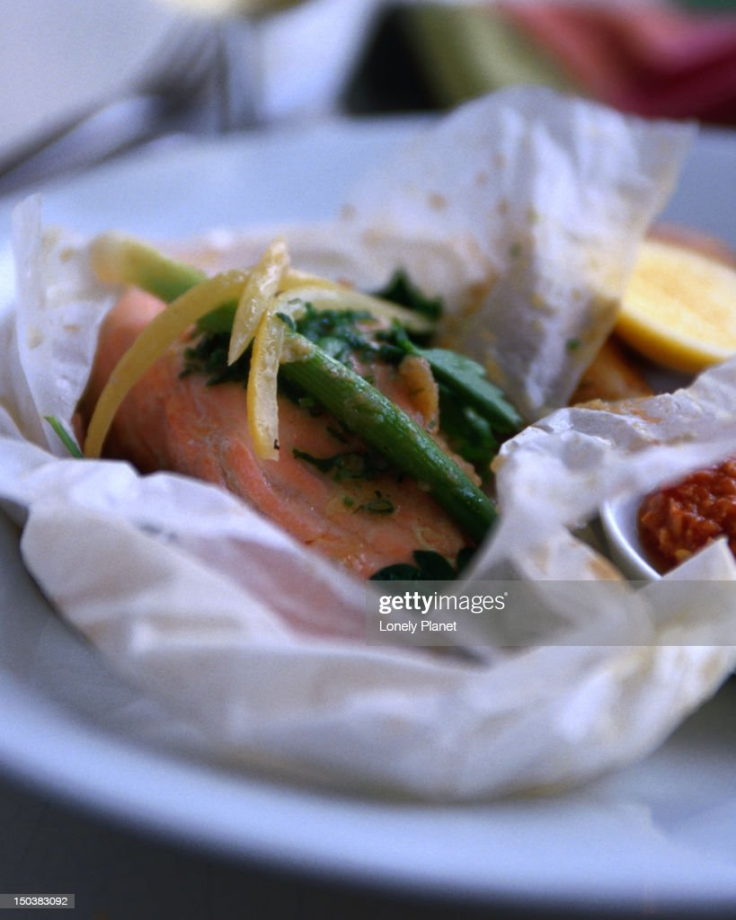 Papillote of ocean trout at Bather's Pavilion Cafe, Balmoral. : Stock Photo
