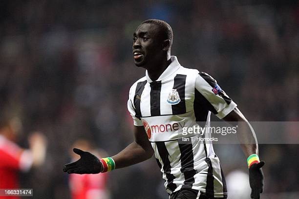 Papis Cisse celebrates scoring the first goal during the UEFA Europa League Quater Final second leg between Newcastle United FC and SL Benfica at St...
