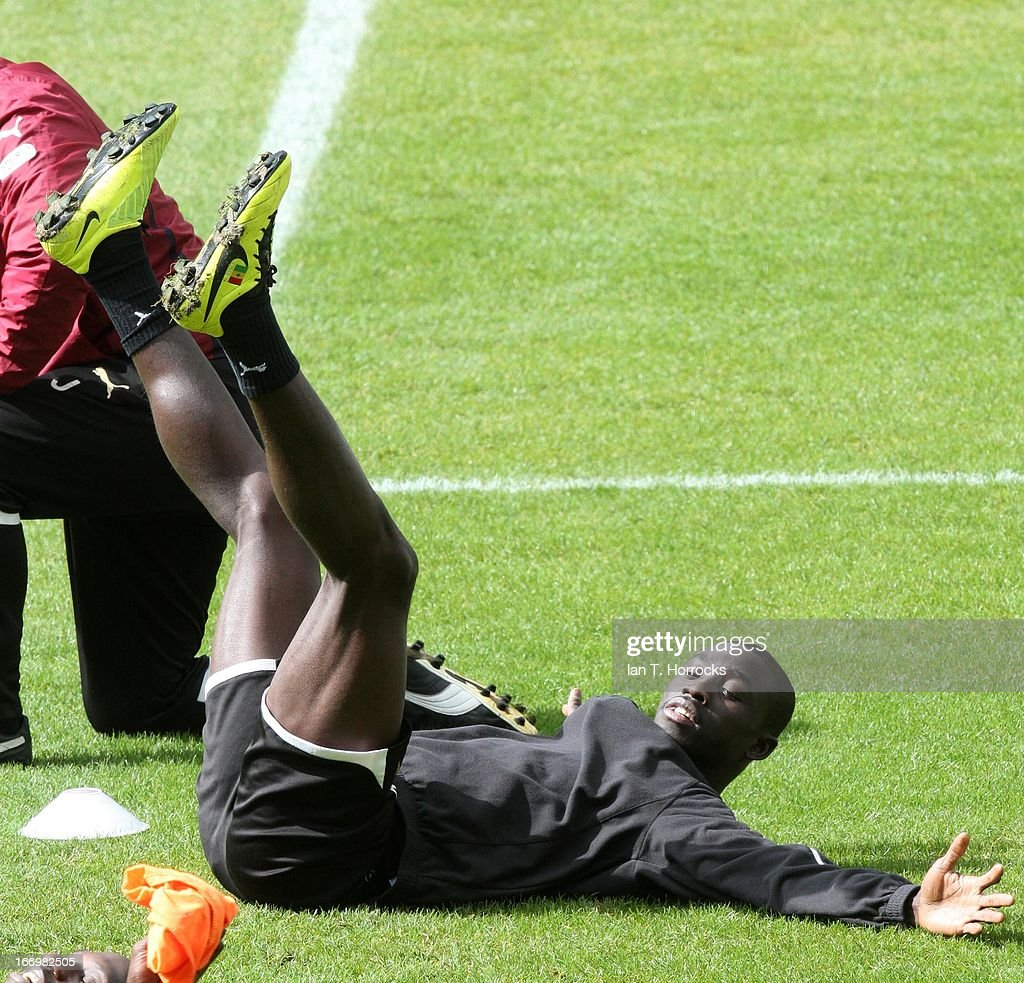 Papis Cisse in action during a Newcastle United training session at St James' Park on April 19, in Newcastle upon Tyne, England.