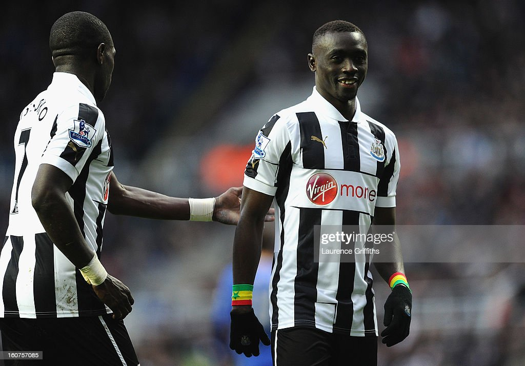 <a gi-track='captionPersonalityLinkClicked' href=/galleries/search?phrase=Papiss+Cisse&family=editorial&specificpeople=4251917 ng-click='$event.stopPropagation()'>Papiss Cisse</a> and <a gi-track='captionPersonalityLinkClicked' href=/galleries/search?phrase=Moussa+Sissoko&family=editorial&specificpeople=4191251 ng-click='$event.stopPropagation()'>Moussa Sissoko</a> of Newcastle United in action during the Barclays Premier League match between Newcastle United and Chelsea at St James' Park on February 2, 2013 in Newcastle upon Tyne, England.