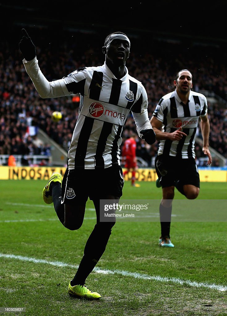 Papiss Cisse of Newcastle celebrates his goal during the Barclays Premier League match between Newcastle United and Southampton at St James' Park on February 24, 2013 in Newcastle upon Tyne, England.