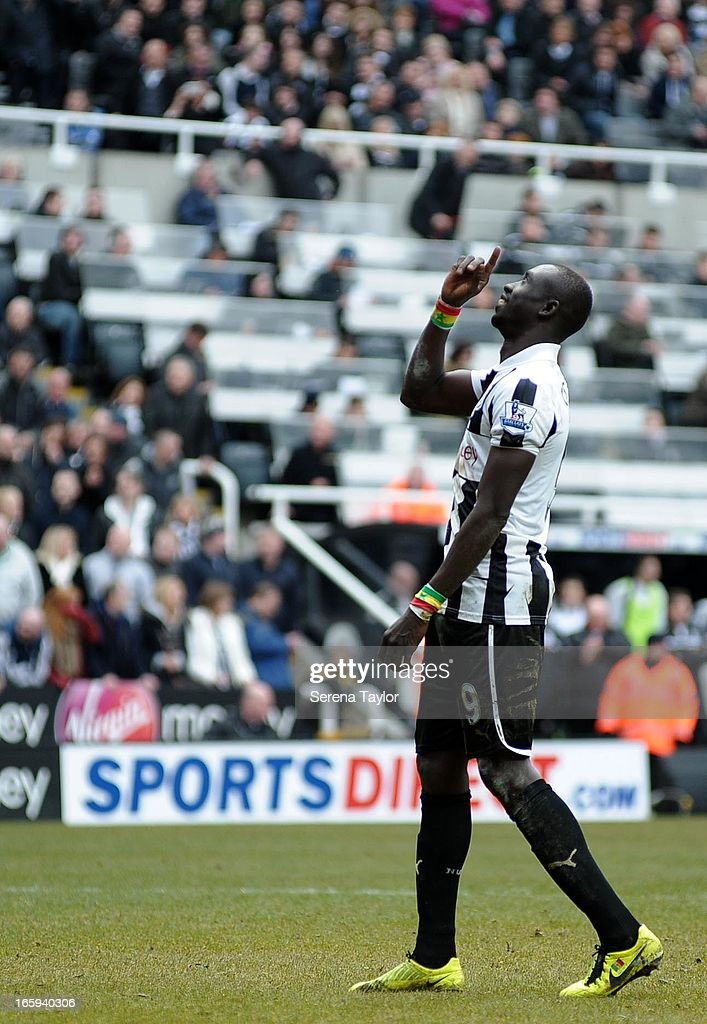 Papiss Cisse of Newcastle United celebrates after scoring the only goal during the Barclays Premier League match between Newcastle United and Fulham at St James' Park on April 07, 2013 in Newcastle upon Tyne, England.