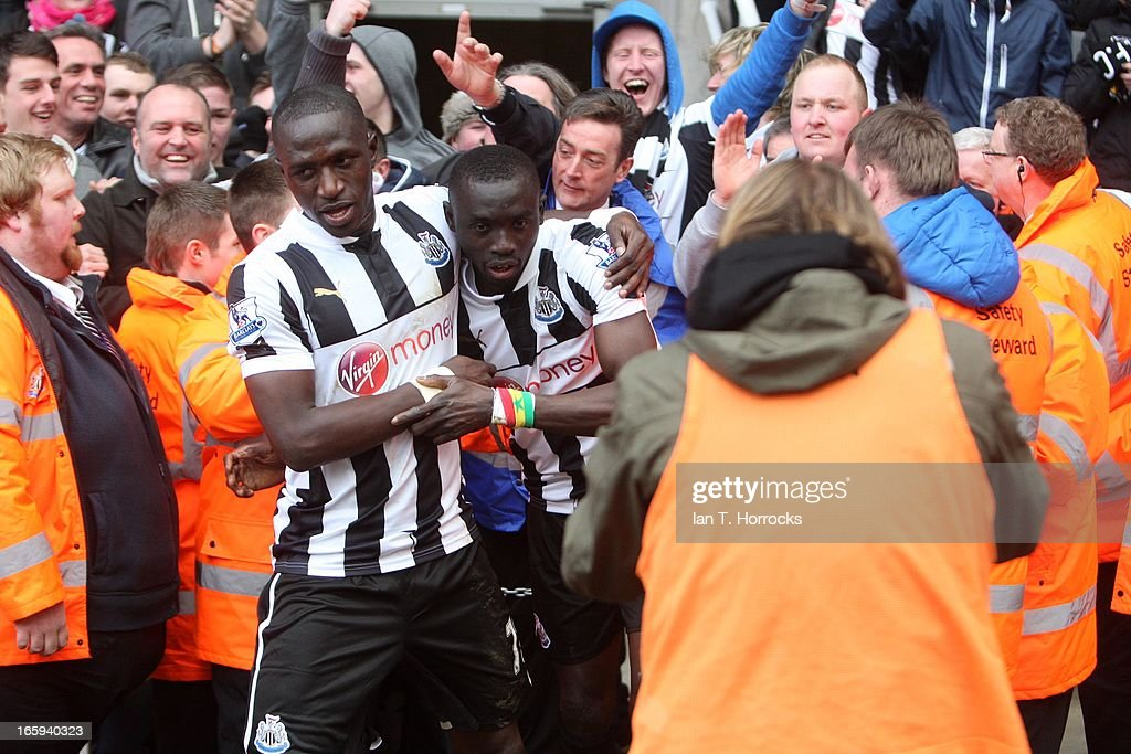 Papiss Cisse (R) of Newcastle United celebrates with Moussa Sissoko after scoring the only goal during the Barclays Premier League match between Newcastle United and Fulham at St James' Park on April 07, 2013 in Newcastle upon Tyne, England.