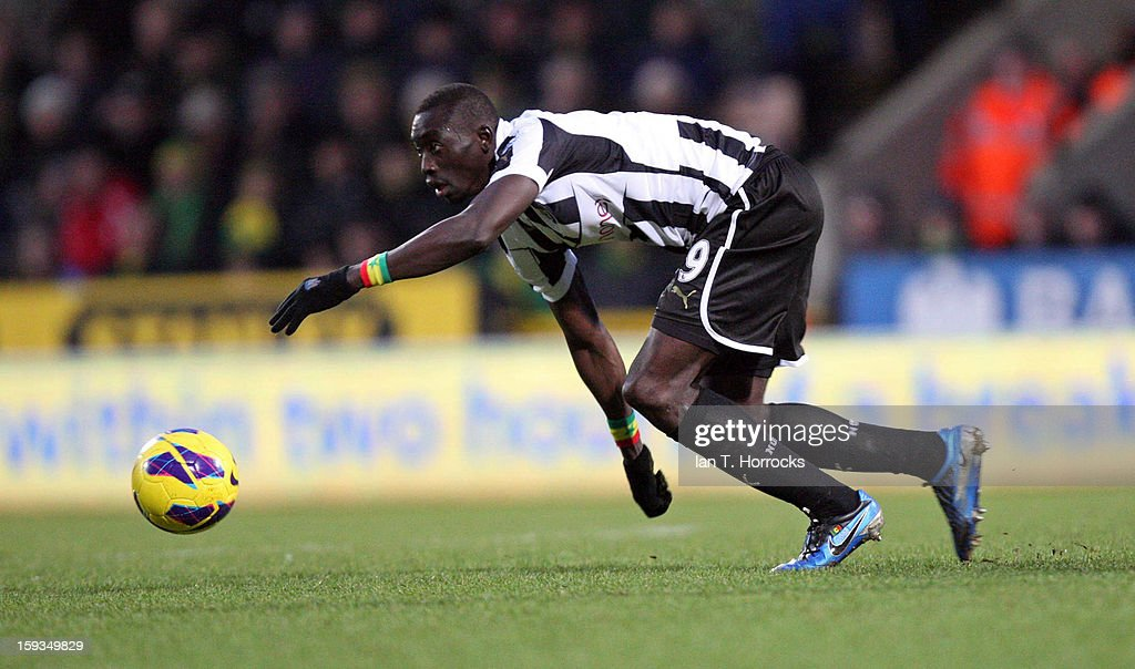 <a gi-track='captionPersonalityLinkClicked' href=/galleries/search?phrase=Papiss+Cisse&family=editorial&specificpeople=4251917 ng-click='$event.stopPropagation()'>Papiss Cisse</a> of Newcastle United during the Barclays Premier League match between Norwich City and Newcastle United at Carrow Road on January 12, 2013 in Norwich, England.