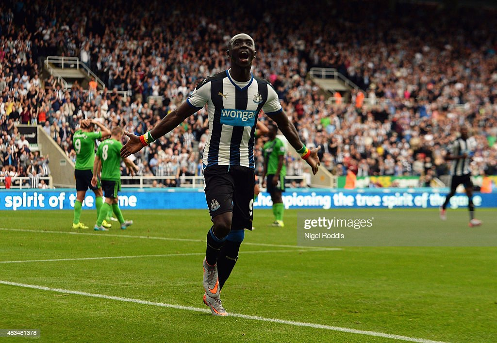Papiss Demba Cisse of Newcastle United (9) celebrates as he scores their first and equalising goal during the Barclays Premier League match between Newcastle United and Southampton at St James' Park on August 9, 2015 in Newcastle upon Tyne, England.