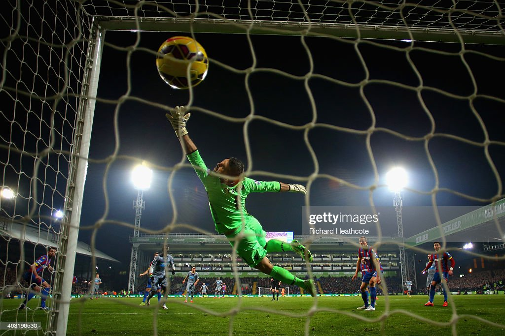 Papiss Demba Cisse of Newcastle United scores their first goal past Julian Speroni of Crystal Palace during the Barclays Premier League match between Crystal Palace and Newcastle United at Selhurst Park on February 11, 2015 in London, England.