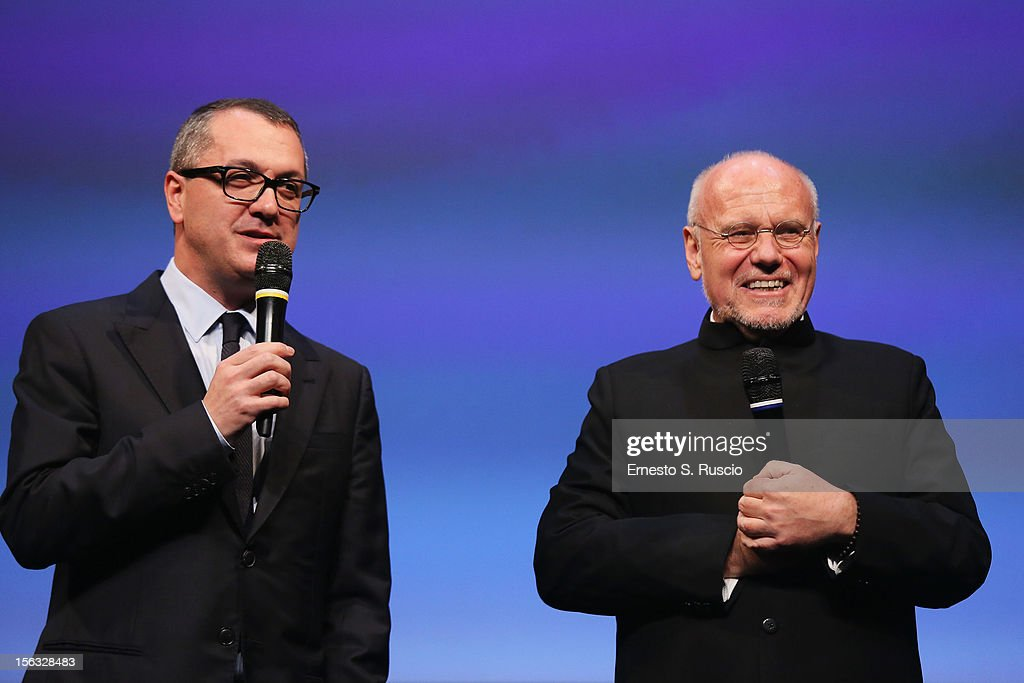 Pappi Corsicato and Festival director Marco Mueller attend the Vanity Fair International Award for Cinematic Excellence presentation at the 7th Rome Film Festival on November 13, 2012 in Rome, Italy.