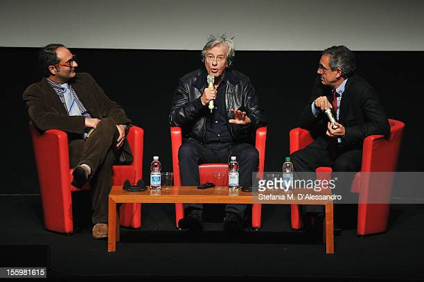 Pappi Corsicato Director Paul Verhoeven and Mario Sesti during Paul Verhoeven Meets The Audience during the 7th Rome Film Festival at the Auditorium...