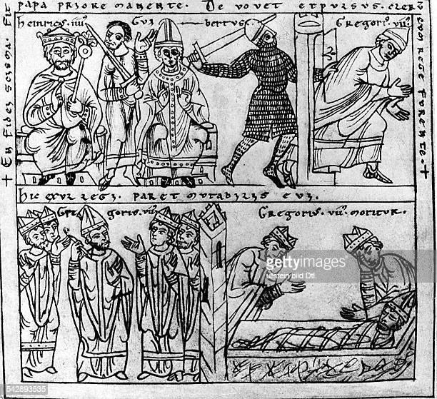 Papst Gregor VII Vertreibung Wirken in der verbannungTodZeichnung aus der Chronik von Otto vonFreising 12 Jahrhundert