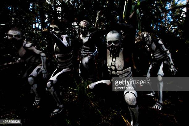 Papua New Guina highland tribal ceremony depicting images of 'Spirit Men' also known as 'Skeleton Men' attacking an evil forest Spirit known locally...