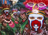Papua New Guinea, Goroka, man wearing ceremonial costume, close-up
