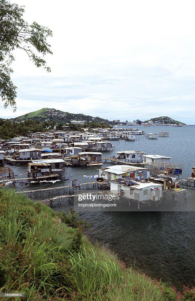 Papua New Guinea, Port Moresby, stilt houses.