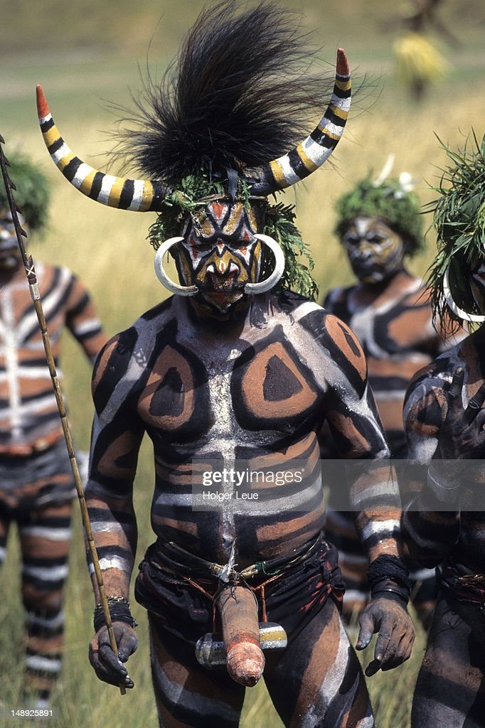 Papua New Guinean man of Duna Tribe, Port Moresby Cultural Festival.