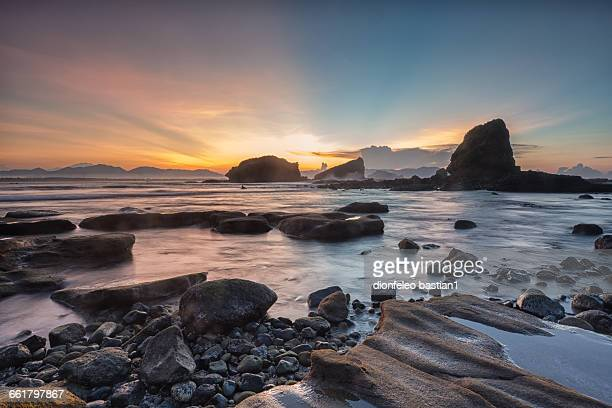 Papuma beach at sunrise, Jember, East Java, Indonesia