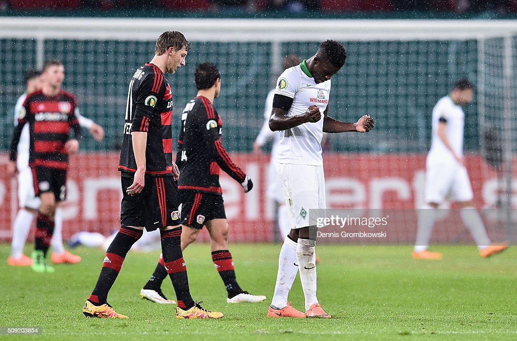 Papy Mison Djilobodji of Werder Bremen reacts as they are awarded a penalty during the DFB Cup Quarter Final match between Bayer Leverkusen and Werder Bremen at BayArena on February 9, 2016 in Leverkusen, Germany.
