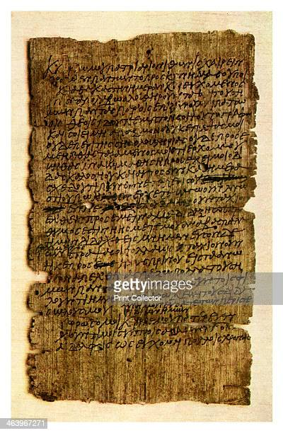Papyrus letter from a schoolboy to his father c200 AD A print from Things a volume about the origin and early history of many things common and less...