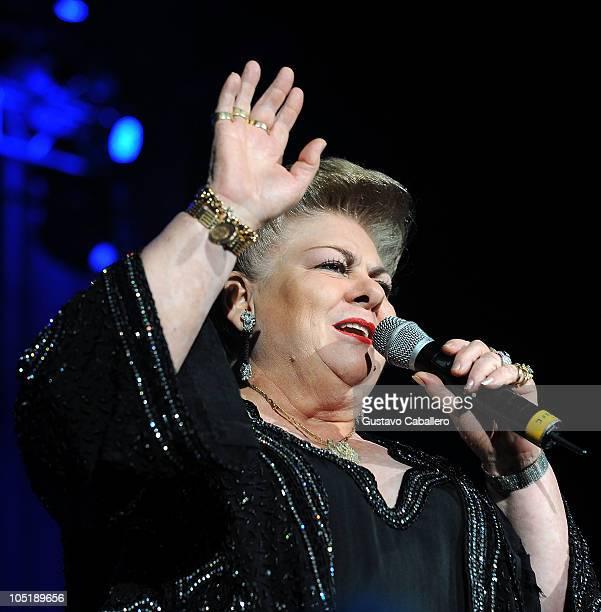 Paquita la del Barrio performs at AmericanAirlines Arena on October 10 2010 in Miami Florida