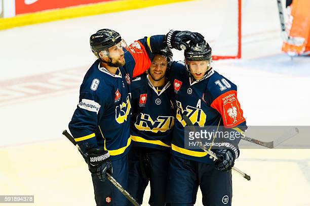 Par Arlbrandt of HV71 celebrates scoring goal 53 during the Champions Hockey League match between HV71 Jonkoping and Sheffield Steelers at Kinnarps...