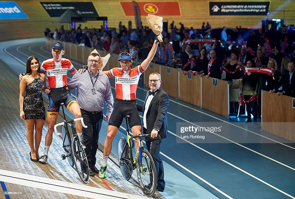 Par nr 7 Jesper Morkov and Alex Rasmussen celebrate best lap time during day two at the Copenhagen Six Days Race Cycling at Ballerup Super Arena on February 5, 2016 in Ballerup, Denmark.