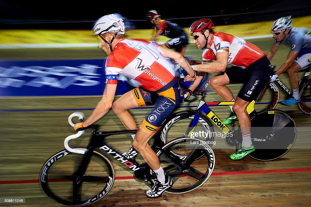 Par nr 7 Jesper Morkov and Alex Rasmussen in action during day two at the Copenhagen Six Days Race Cycling at Ballerup Super Arena on February 5, 2016 in Ballerup, Denmark.