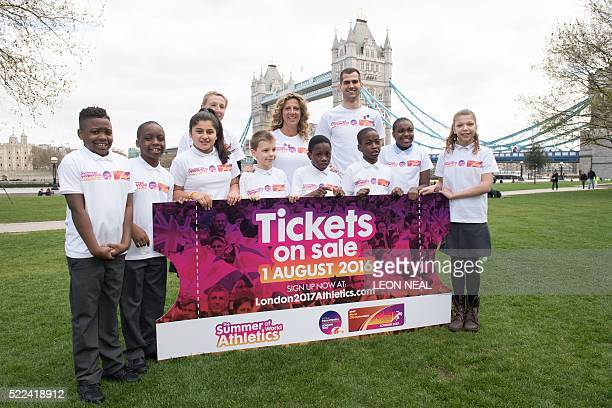 Para athlete Georgie Hermitage former athlete Sally Gunnell and athlete Robbie Grabarz attend a launch event for the London 2017 World Athletics...