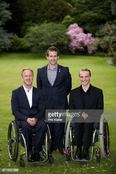 Para athletes Corey Peters Adam Hall and Aaron Ewen pose for a portrait during the New Zealand Pyeongchang 2018 Winter Paralympic Games Athlete...