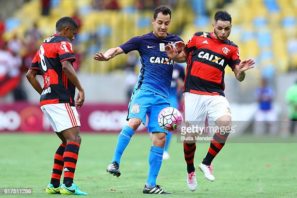 Para of Flamengo struggles for the ball with Rodriguinho of Corinthians during a match between Flamengo and Corinthians as part of Brasileirao Series...