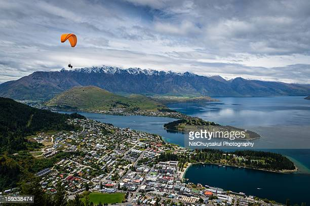 Parachute over Queenstown city