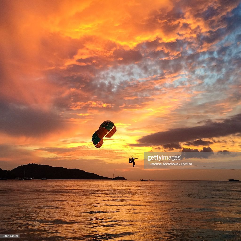Parachute Over Sea At Sunset