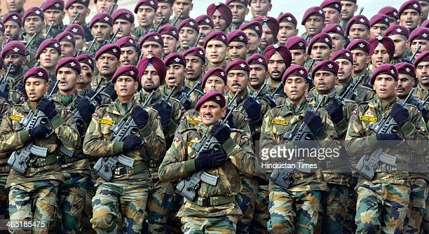 Parachute Regiment Jawans of Indian Army marching during the 65th Republic Day parade at Rajpath on January 26 2014 in New Delhi India India adopted...