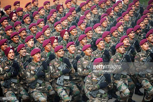 A parachute regiment of the Indian Army marches in formation during the Republic Day parade in New Delhi on January 26 2014 India celebrated its 65th...