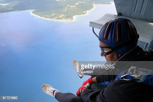 Parachuter before jump from the helicopter
