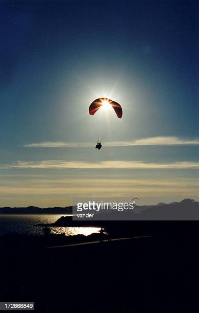 Parachuter caught in the sunset