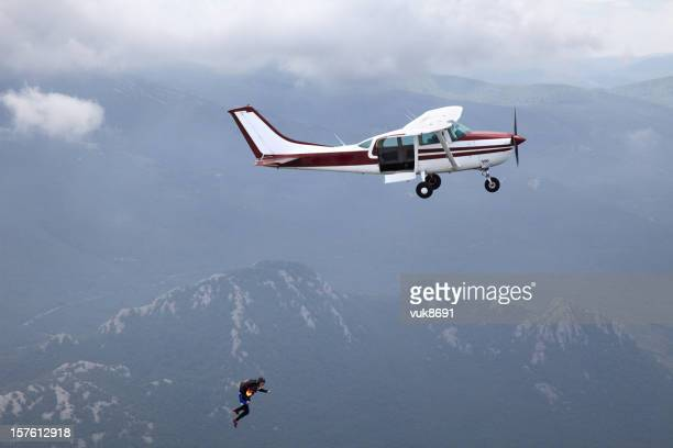 Parachuter jumping from Cessna airplane in Croatia