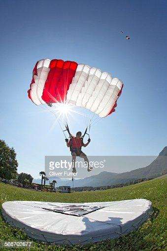 Parachutist performing an accuracy landing