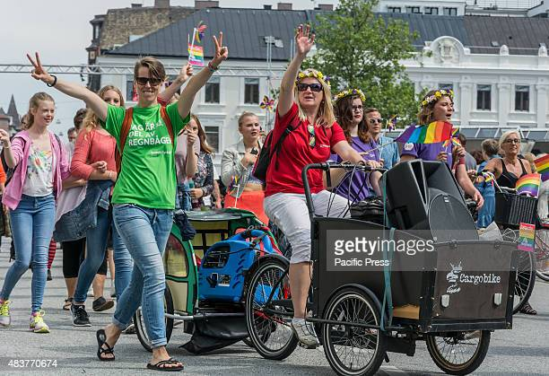 Parade closing the Rainbow festival Malmö Pride 2015 After a week long Pride festival a parade through the streets of Malmö with 7 500 participants a...