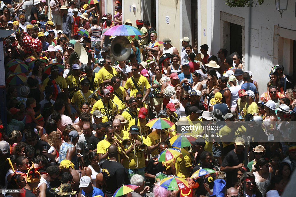 Parade followed by thousands of people during the Carnaval on February 11, 2013 in Olinda, Brazil