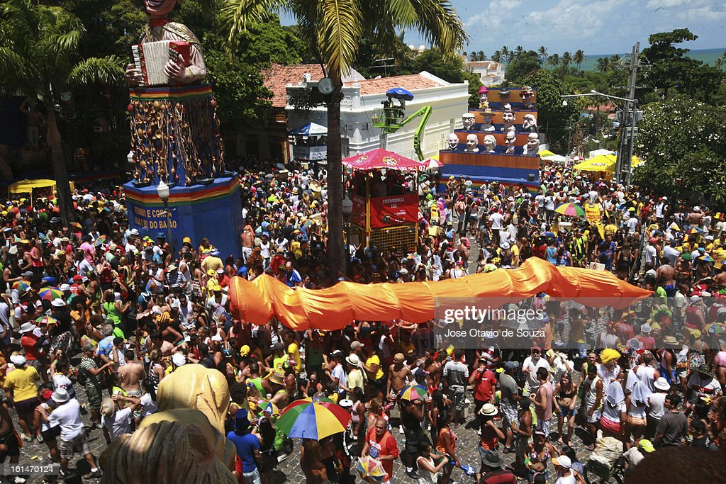 Parade followed by thousands of people during the Carnival on February 11, 2013 in Olinda, Brazil.