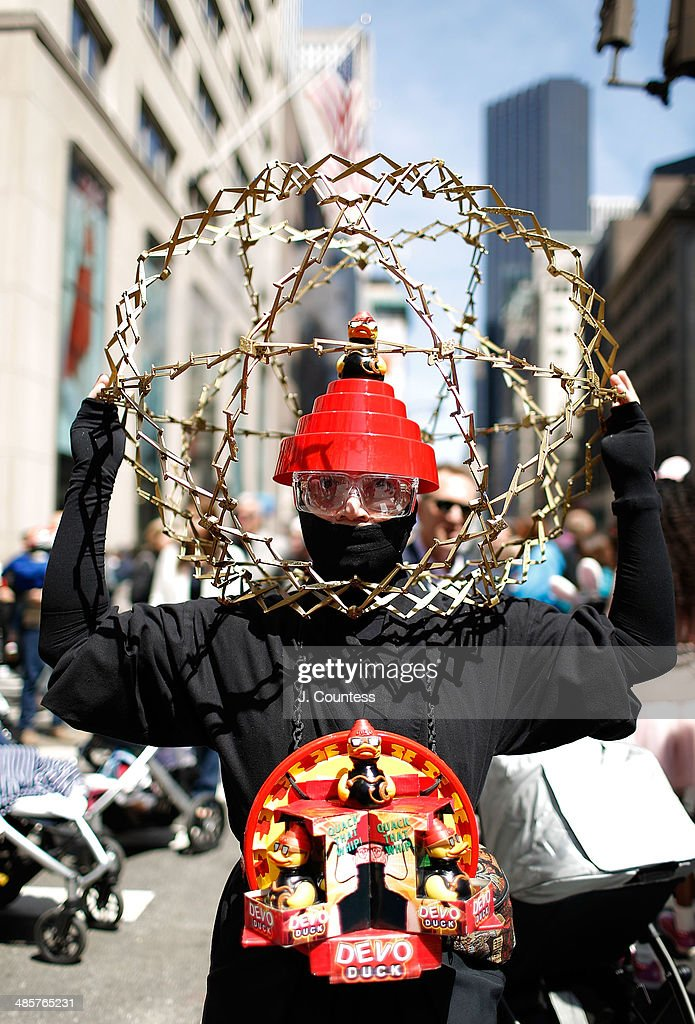 A parade goer wearing a 'Devo' themed costume is seen on 5th Ave during the annual Easter Parade and Bonnet Festival on Easter Sunday on April 20, 2014 in New York City.